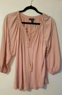 Chaps pink crinkle peasant blouse size M Coquitlam, V3J 3R2