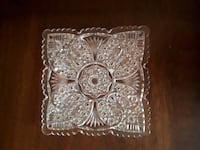 VINTAGE HAND-CUT PRESSED CLEAR GLASS CRYSTAL SQUARE PLATE SCALLOPED