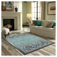 MAPLES RUGS GEOMETRIC LANEETE AREA RUG 5FTX7FT - GREY/BLUE Toronto
