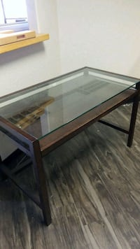 rectangular brown wooden framed glass top coffee table Scottsdale, 85260