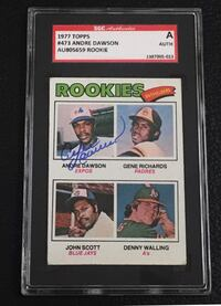 1977 topps andre dawson autograph rookie card sgc certified 567 mi