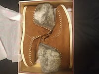 pair of brown suede boots with box Toronto, M6M 5A5