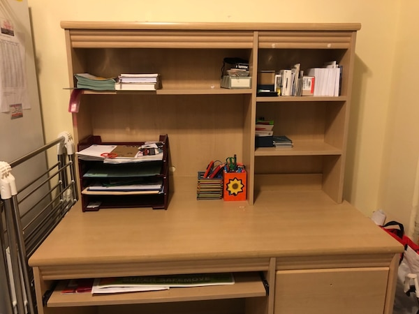 Office Table with Bookshelf