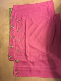 Bright Pink Grommet Panel Curtains x2