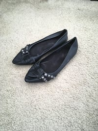 ALDO Black and Studded Flats(Size 7) Silver Spring