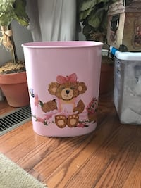 Adorable! Vintage Pink Trash Can with precious painted Bear Gainesville, 20155