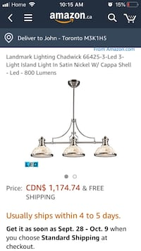 stainless steel 3-light chandelier screenshots Bulbs not included. Requires three 100 watts bulbs. Cappa shell shade. 47 in. W x 13 in. D x 21 in. H (24 lbs.). The Chadwick Toronto, M3K 1H5