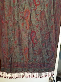 Red and green floral silk scarf Edmonton, T5W 3J4