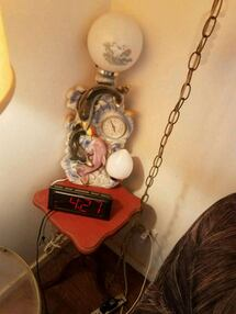 lamp, table and clock