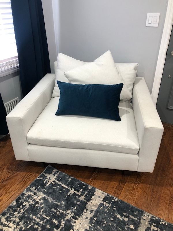 Used White Leather Sofa Chair With Throw Pillow For Sale In