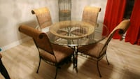 round glass top table with four chairs dining set Montreal, H1Y