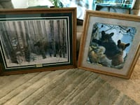 two brown moose and brown bears photo frames