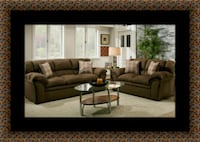 Chocolate fabric sofa and loveseat 59 km