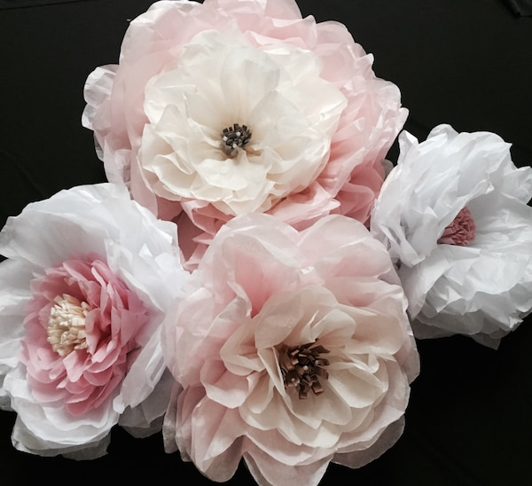 Used Elegant Color Tissue Paper Flowers Decor For Sale In San Diego