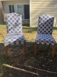 Two blue and white dining chairs / living room chairs Alexandria, 22309