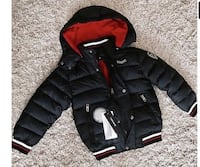 black and red puffer jacket
