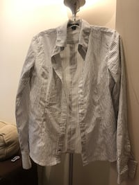Grey striped blouse fitted large size asking $5 see pictures  3738 km