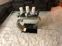 gray and white glass-top coffee table 405 mi