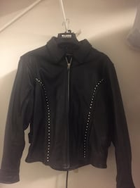 Ladies XL leather motorcycle jacket with quilted liner