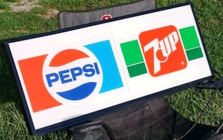 Vintage Pepsi Cola 7UP Soda Pop Light up Store Sign Collectible