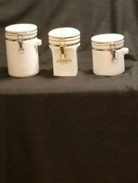 Set of 3 kitchen canisters white 354 mi