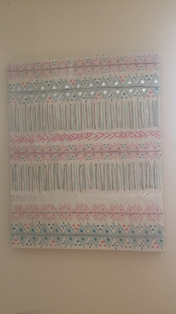 white, blue and red printed textile. Tribal pattern painting.  665aa5b4-2138-43d7-8d46-eb167466815a
