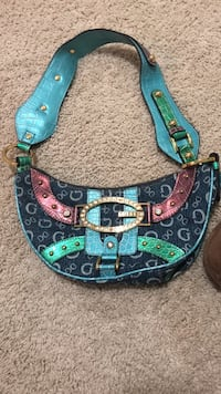 Blue and red leather guess bag