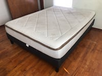 Queen Upholstered Platform Bed Frame (No Boxspring Needed) with Mattress Lakewood, 98498