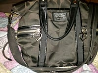black and gray leather tote bag