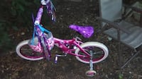 toddler's pink and white bicycle with training wheels Ronkonkoma