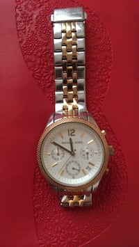 Round silver-colored chronograph watch with link bracelet Cedar Falls, 50613