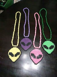 Perler bead's alien necklaces