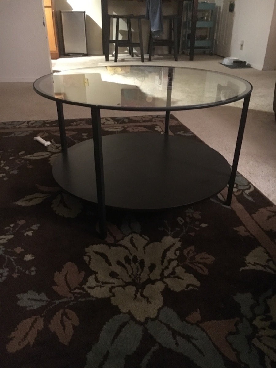 Used Ikea Round Glass Top Coffee Table In Lexington