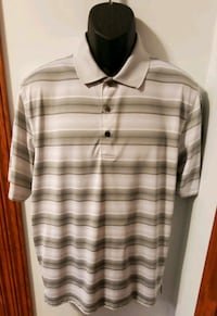 Champions Tour Short Sleeve Collared Multi Colored Striped Shirt Middletown, 21769