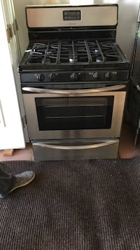 Black and silver gas range