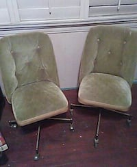 Vintage 70s chairs green velvet