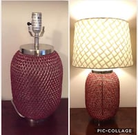 2 Red beaded lamp bases Falling Waters, 25419