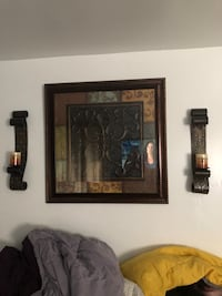 Brown wooden framed wall decor and candle holder Kissimmee, 34744