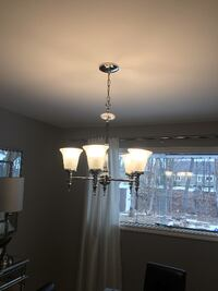 gray metal uplight 5-light chandelier BURLINGTON