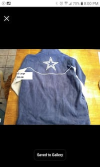 Dallas Cowboys adult SZ large fleece jacket
