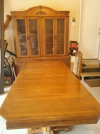 rectangular brown trestle table and display cabinet Guelph, N1E 2W4