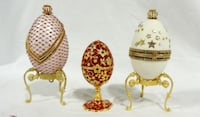 Collectible Musical Hand Decorated Egg Boxes Plus Brass Egg Box Charlotte