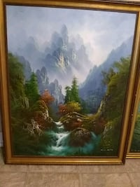 painting of mountain, river, and forest with gold wooden frame Charlotte, 28214