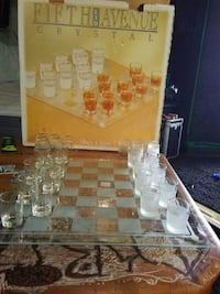 Fith LTD Avenue Crystal shot glass checkers