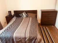 Brown wooden bed frame and bedding set 547 km