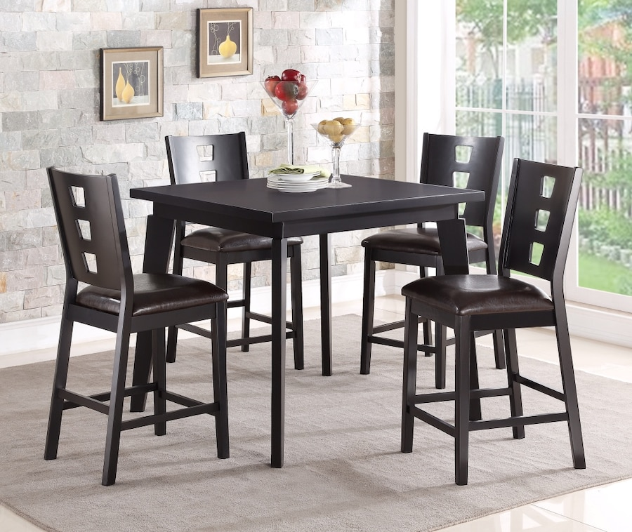 Attractive 5 Pcs Counter Height Dining Set Square Table W/ Dark Brown PU Seat Chair  Black