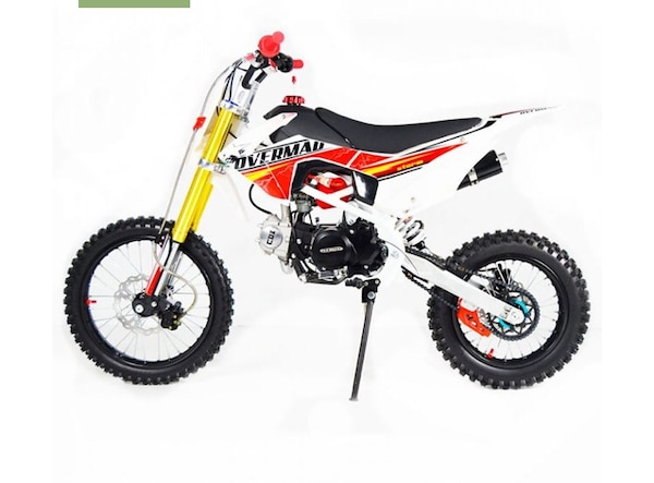 blanco y rojo overmad pit bike