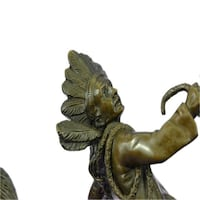 Mounted Indian Chief Bronze Sculpture (12X14 Inches)