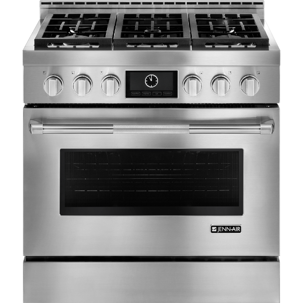 "NEW Jenn Air Stainless Steel Appliances 36"" Stove, Hood, Microwave"