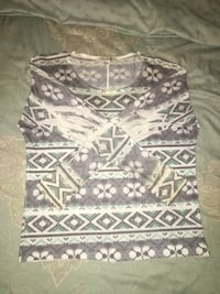 Tribal-print crewneck long-sleeve 547 mi